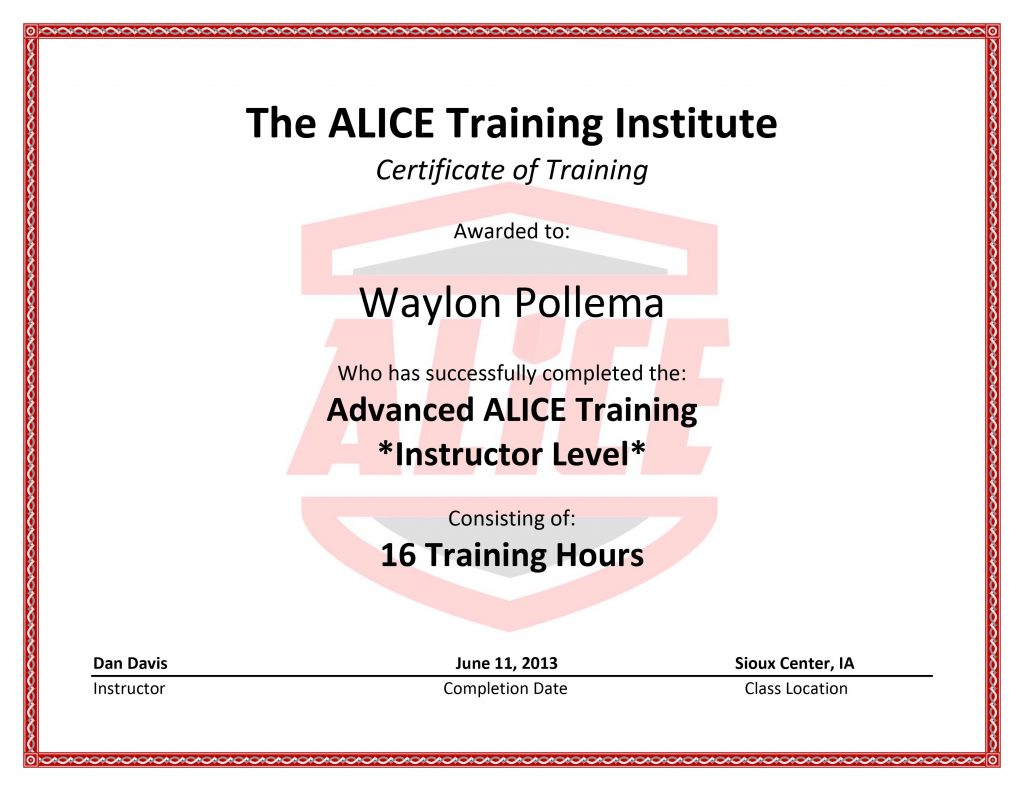 ALICE Trainer Certification